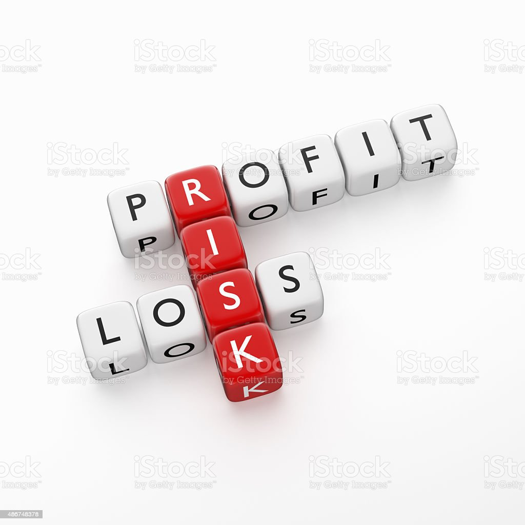 Crossword Profit Loss stock photo