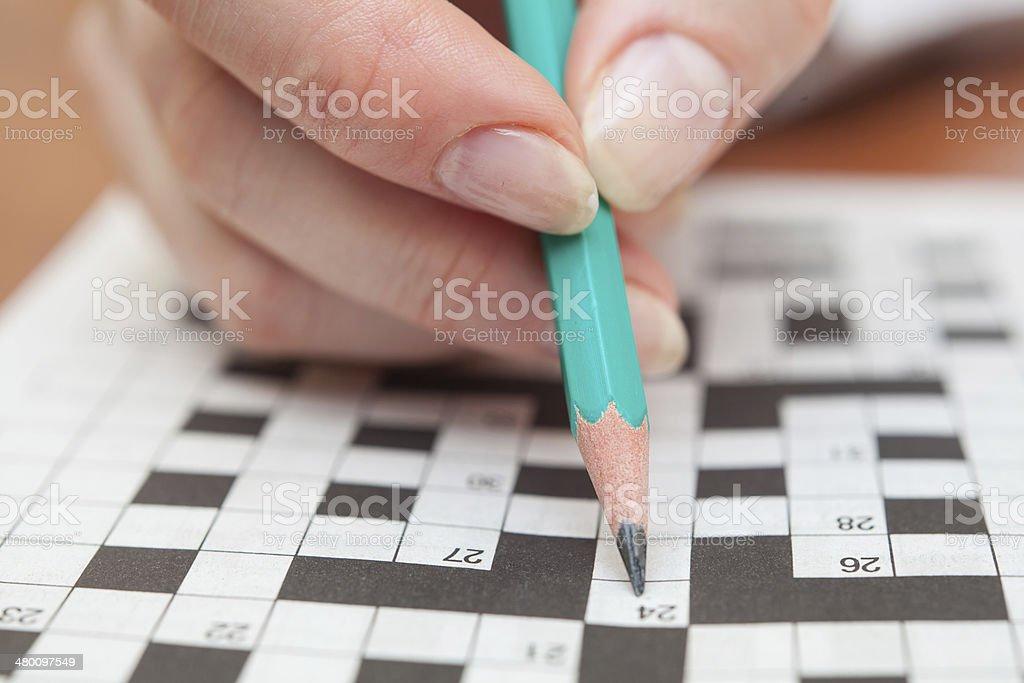 Crossword puzzle close-up stock photo