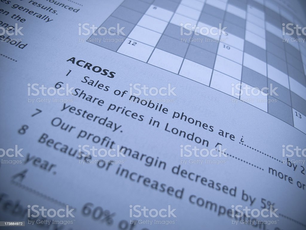 Crossword Puzzle stock photo