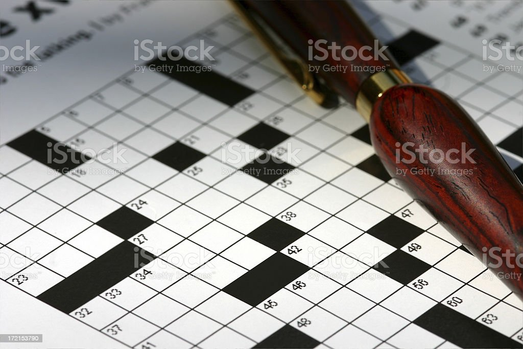 Crossword Puzzle with Pen royalty-free stock photo