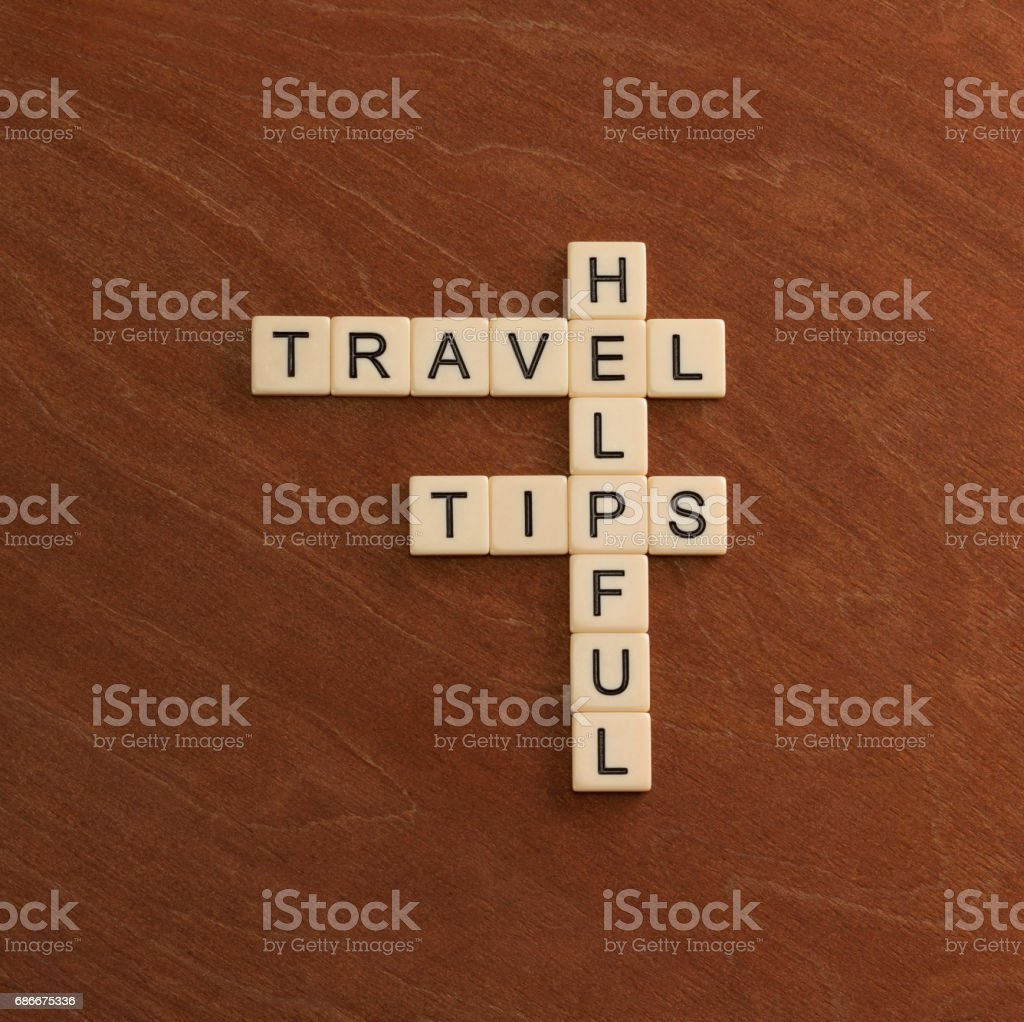 Crossword puzzle with words Helpful Travel Tips. World travel concept. stock photo
