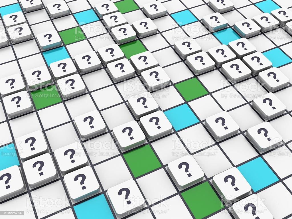 Crossword Series - Question Marks stock photo