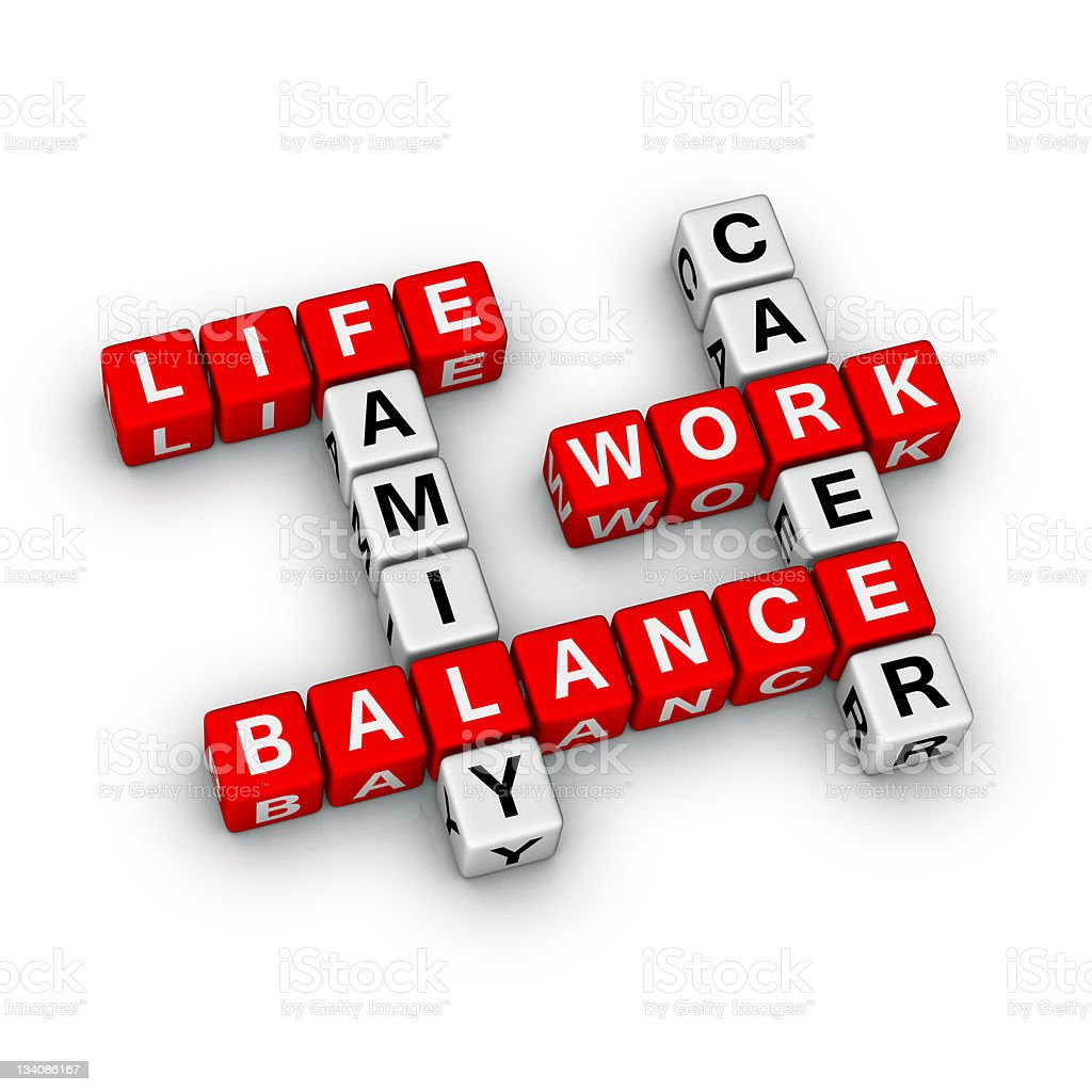 3D crossword shape of work-life balance vocabulary stock photo