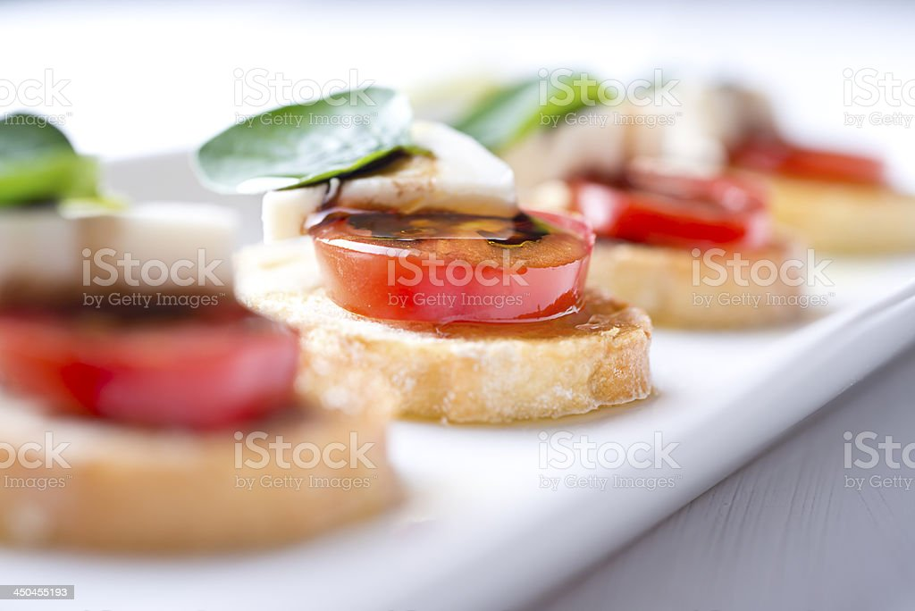 Crostini Tomato Appetizer stock photo