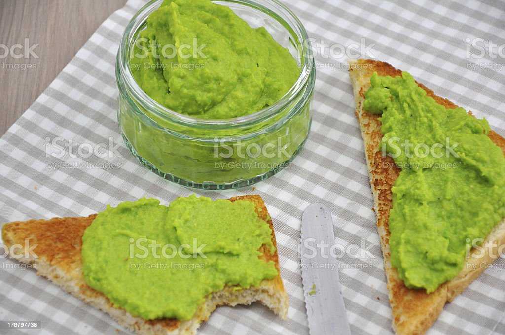 Crostini with a puree of peas royalty-free stock photo