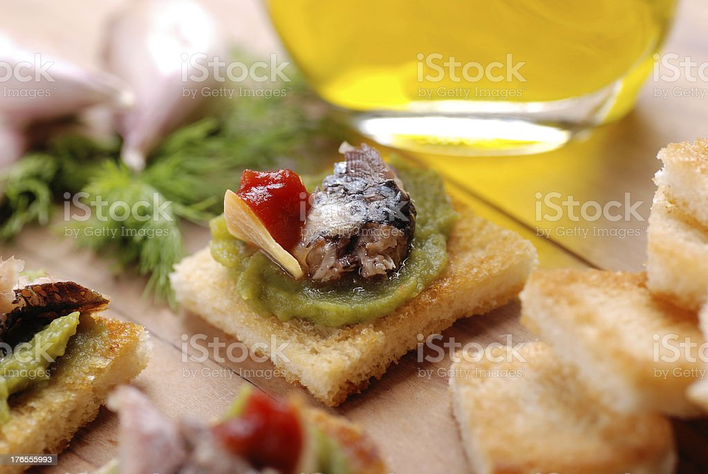 crostini with anchovy royalty-free stock photo