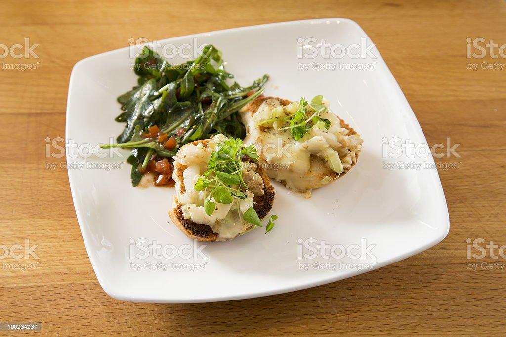 Crostini with arugula salad royalty-free stock photo