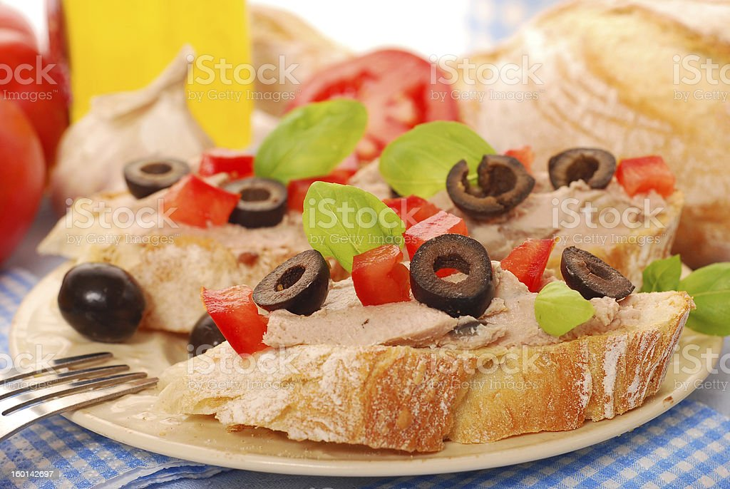 crostini with pate and olives royalty-free stock photo