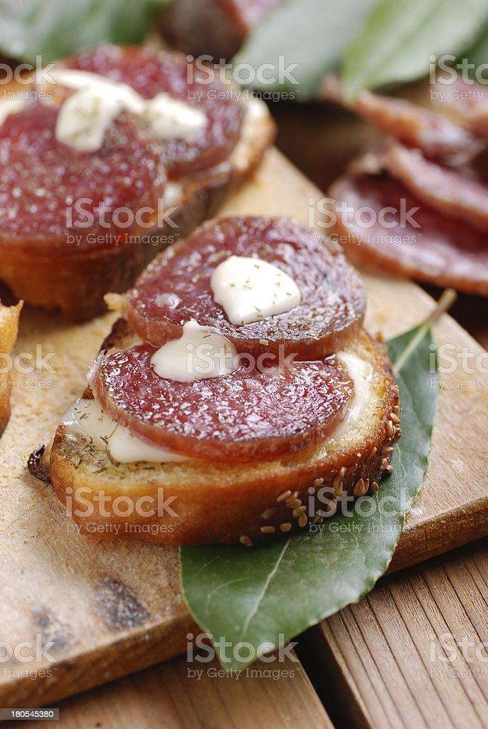 crostini with salami royalty-free stock photo