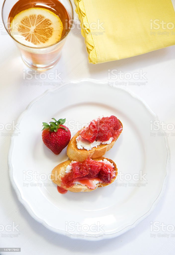 Crostini with Strawberry Rhubarb compote royalty-free stock photo