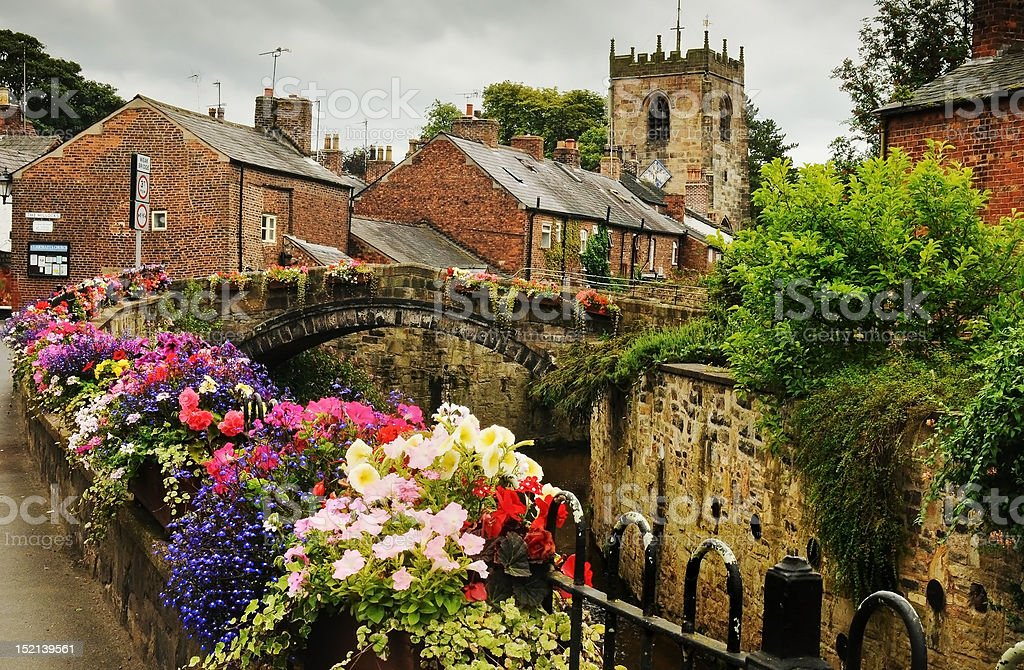 Croston Village and church stock photo