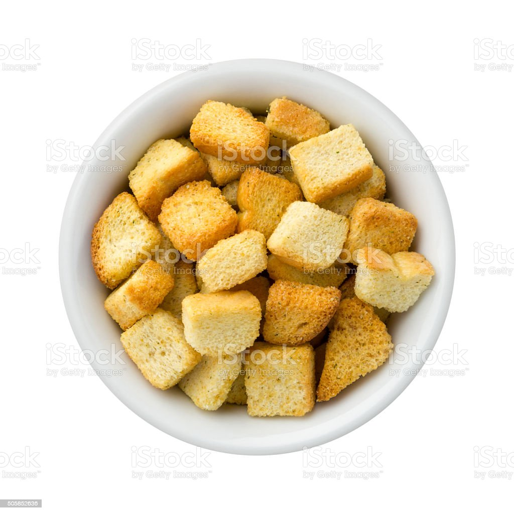 Croutons in a Ceramic Bowl stock photo