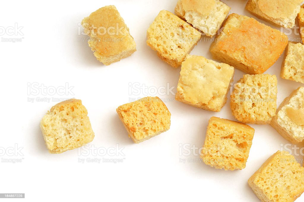Croutons scattered stock photo