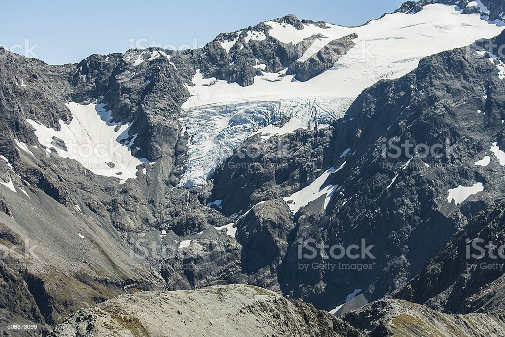 Crow glacier in Southern Alps royalty-free stock photo