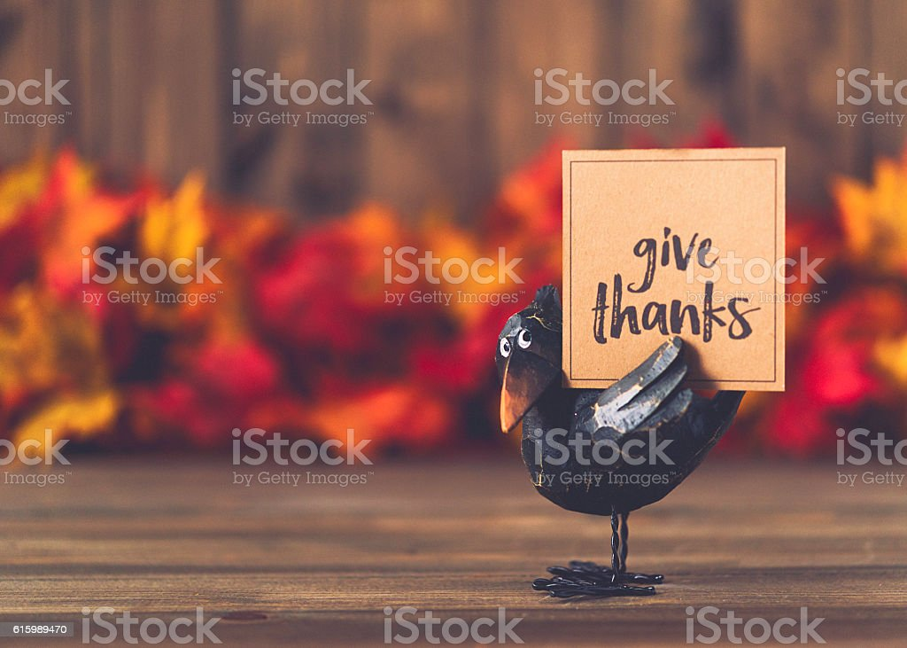 Crow with greeting in front of leaves and wood background stock photo