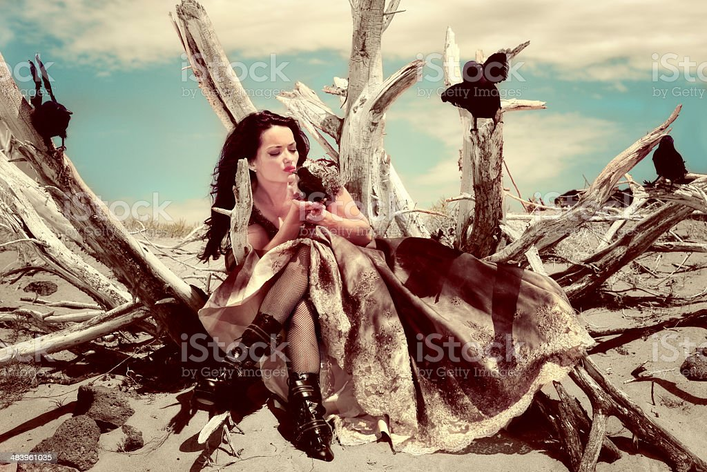 Crow Woman - A Dream Messenger royalty-free stock photo