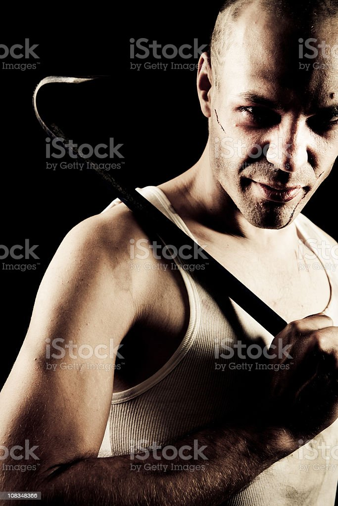 Crowbar killer stock photo
