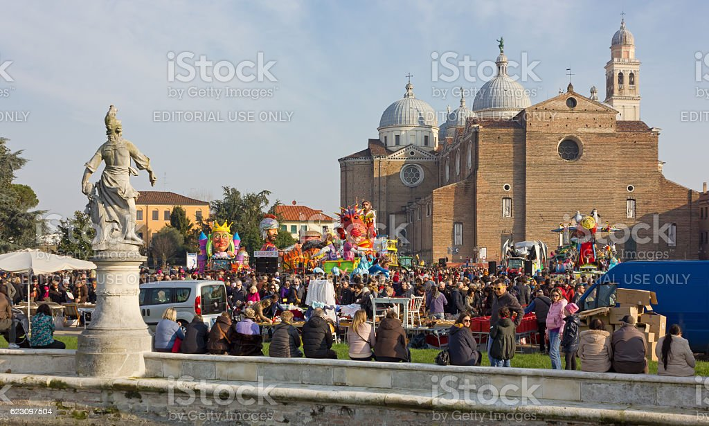Crowd among the Carnival Floats in Padua stock photo
