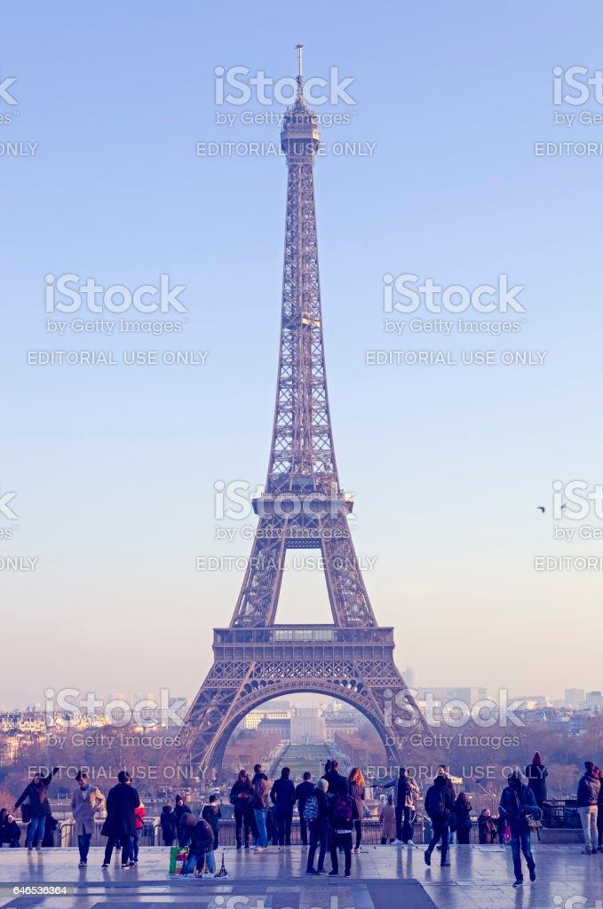 Crowd around the Eiffel Tower stock photo