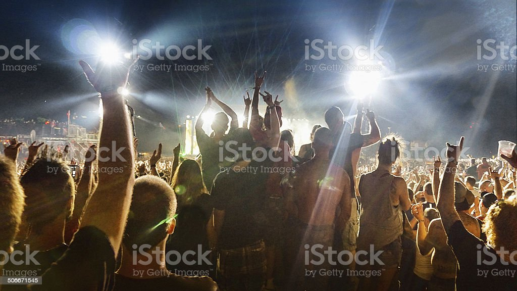 Crowd at a music concert stock photo