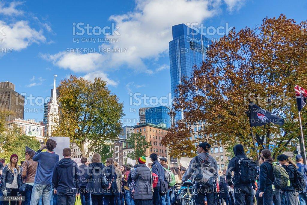 Crowd at Anti-Trump Love Rally Boston Common stock photo