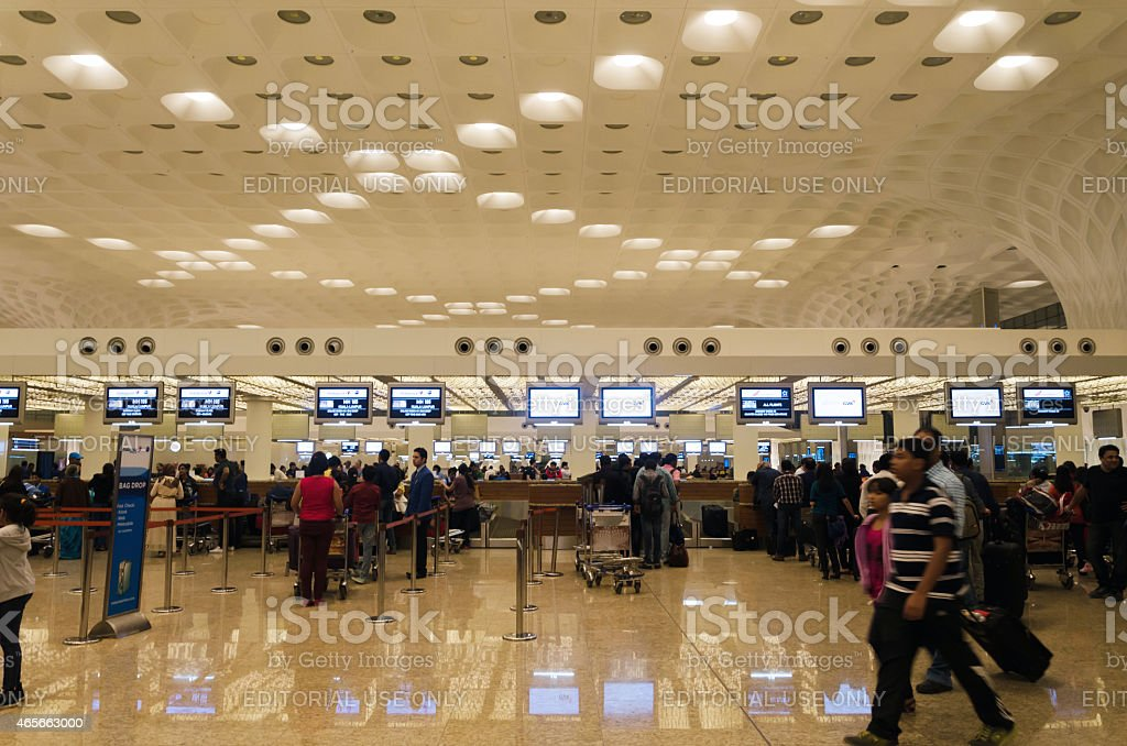Crowd at Chhatrapati Shivaji International Airport. stock photo