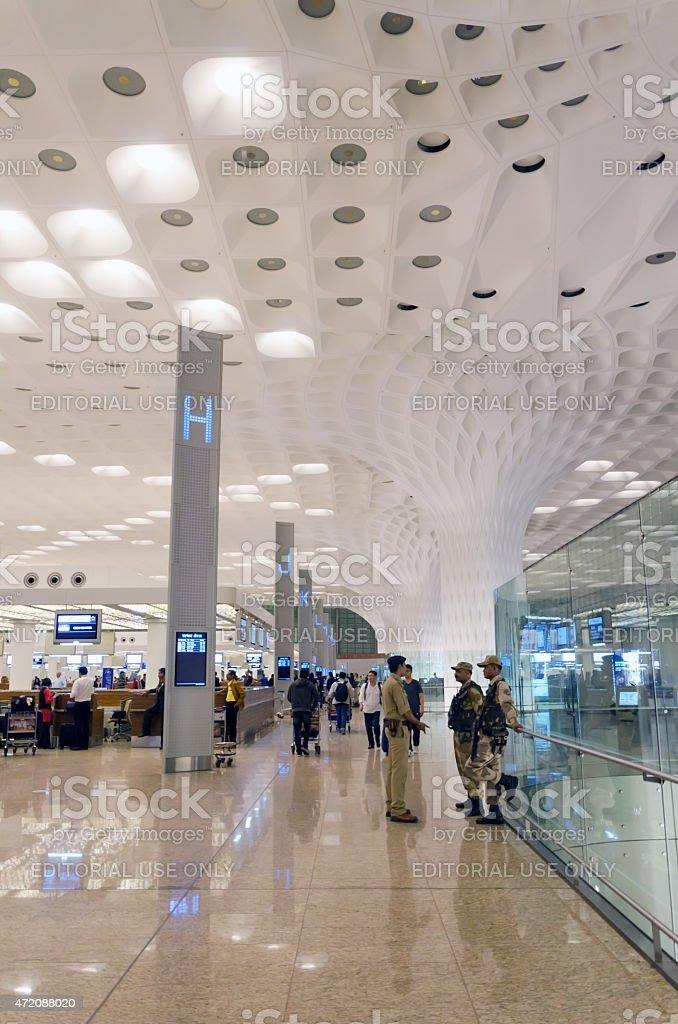 Crowd at Chhatrapati Shivaji International Airport. The New Terminal 2. stock photo