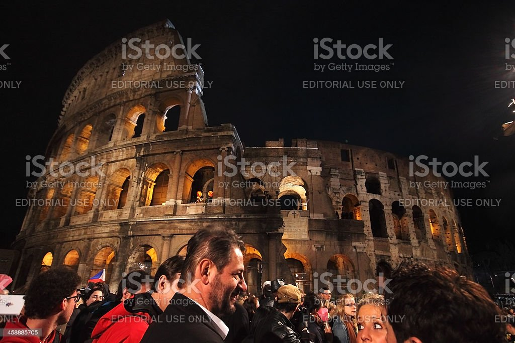Crowd at Colosseum during Statiosn of the Cross in Rome stock photo