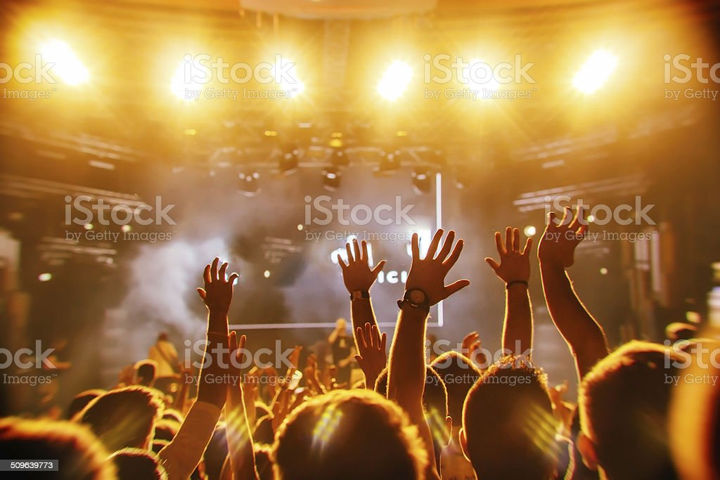Crowd at concert stock photo