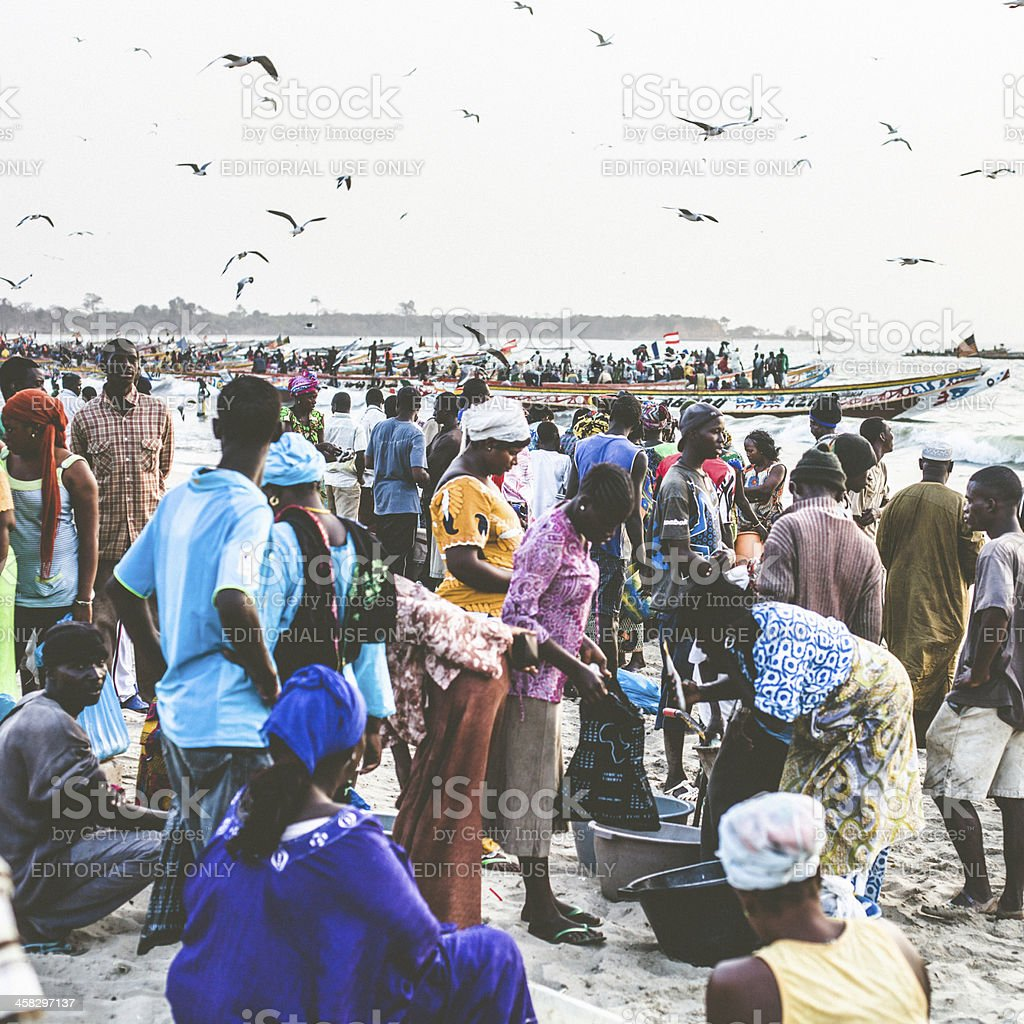 Crowd at fishermen villages beach. royalty-free stock photo