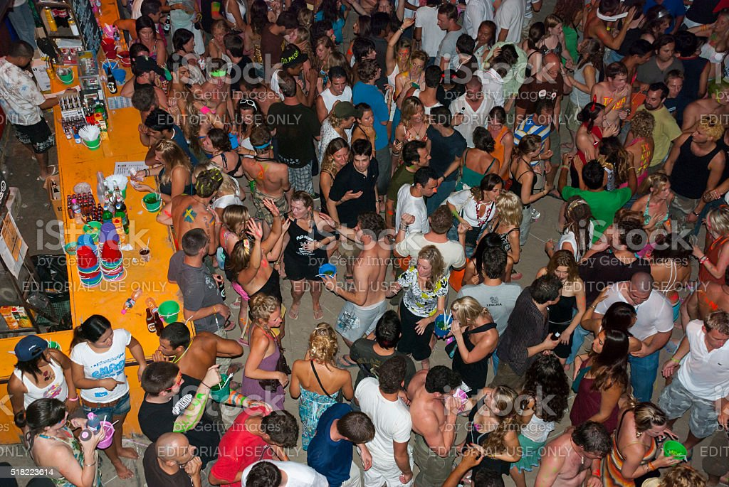 Crowd at Full Moon Party, Ko Phangan, Thailand stock photo
