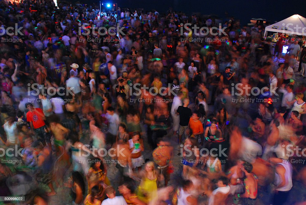 Crowd at Full Moon Party, Thailand stock photo