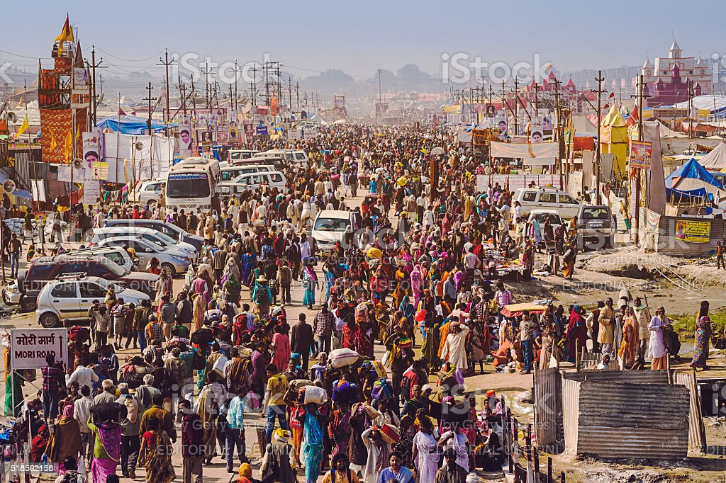 Crowd at Kumbh Mela Festival in Allahabad, India stock photo