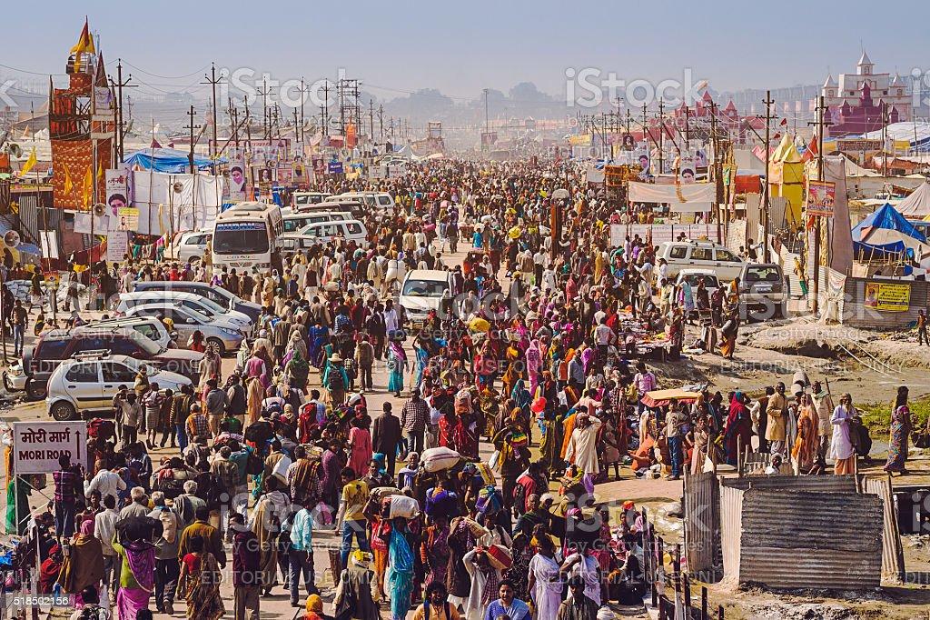 Crowd at Kumbh Mela Festival in Allahabad, India stock photo