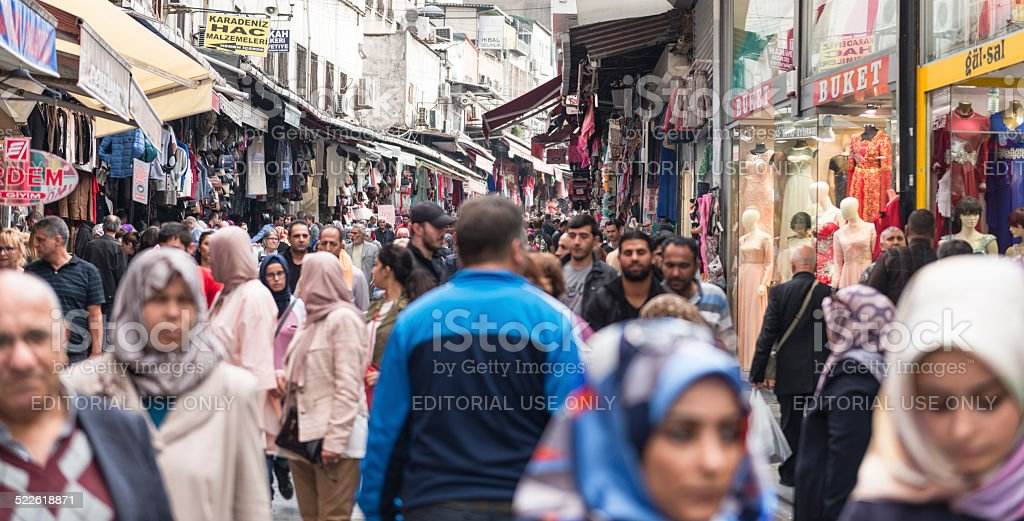 Crowd at Mahmutpasa district of Istanbul Turkey stock photo