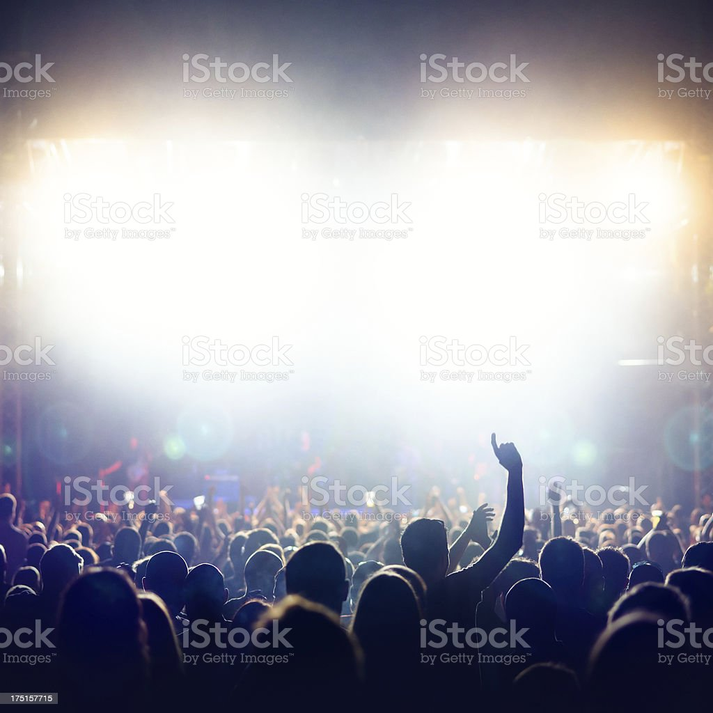 Crowd at music concert stock photo