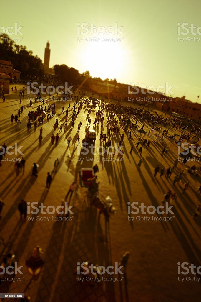 Crowd at sunset stock photo