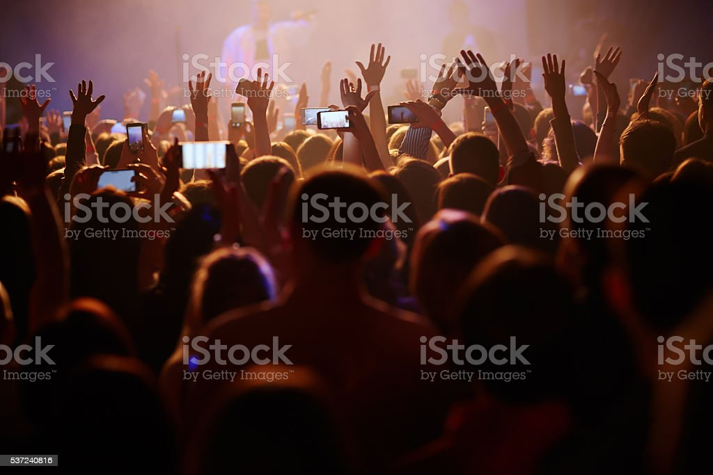 Crowd at the concert stock photo