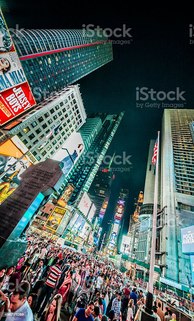 Crowd at Times Square in the night. Manhattan, New York. royalty-free stock photo