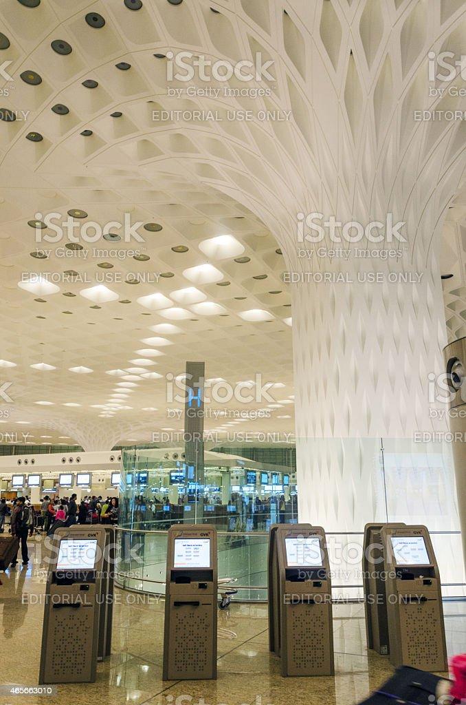 Crowd at visit Chhatrapati Shivaji International Airport. stock photo