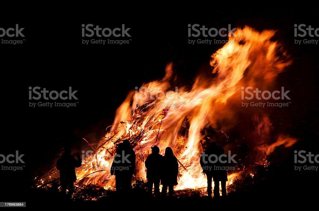 A crowd at Walpurgis night bonfire stock photo