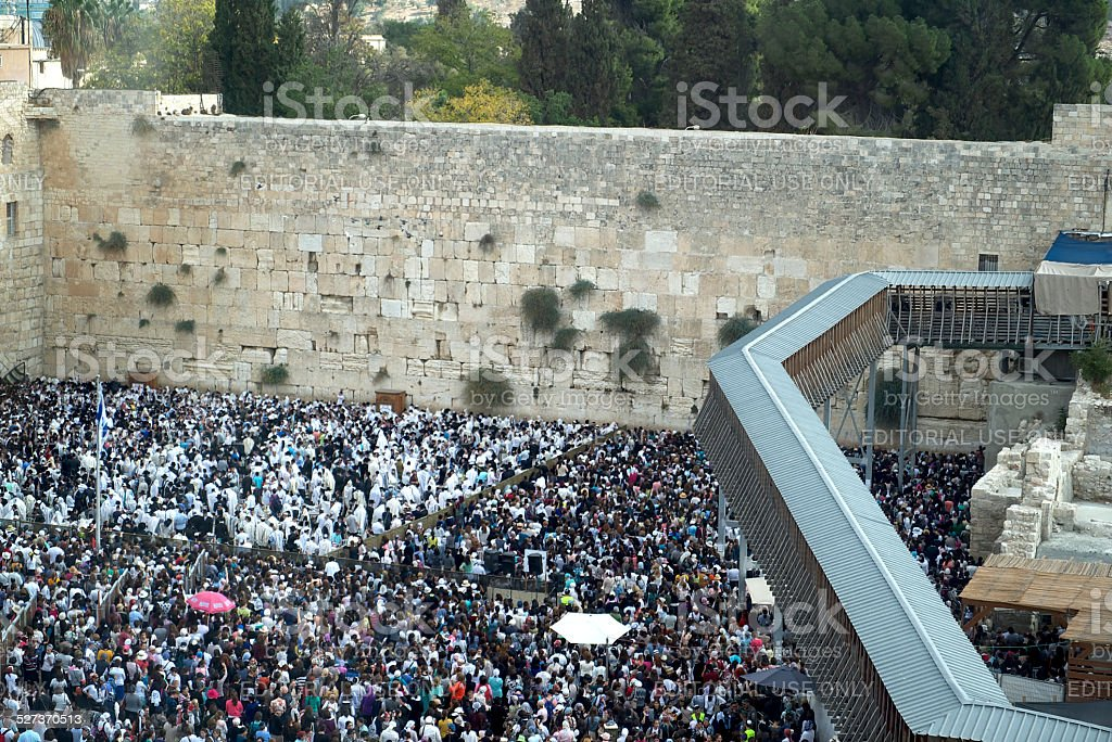 Crowd at Western Wall stock photo