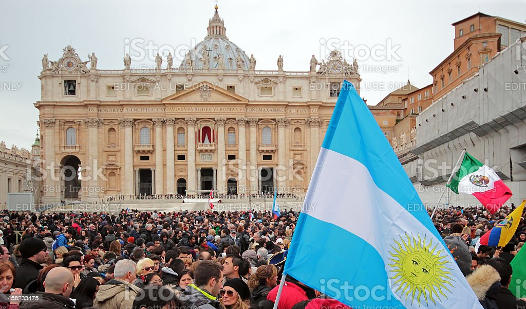 Crowd before Angelus of Pope Francis I royalty-free stock photo