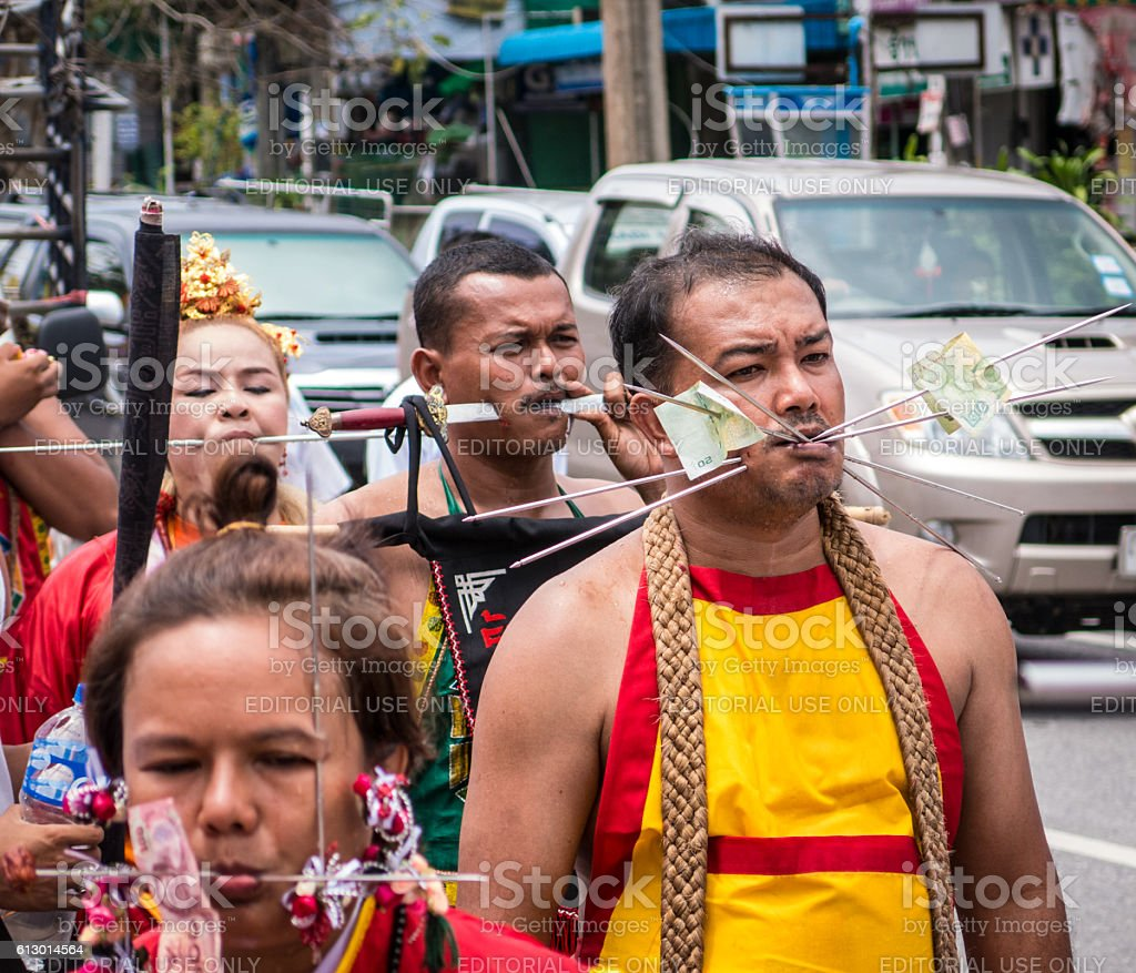 Crowd Chinese Thai Culture Parade Spiritual Festival Asia stock photo