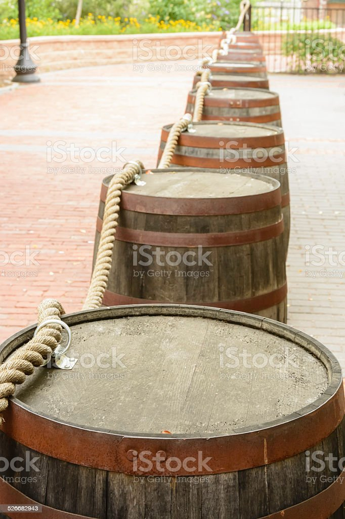 Crowd control barrier with vintage maritime motif stock photo