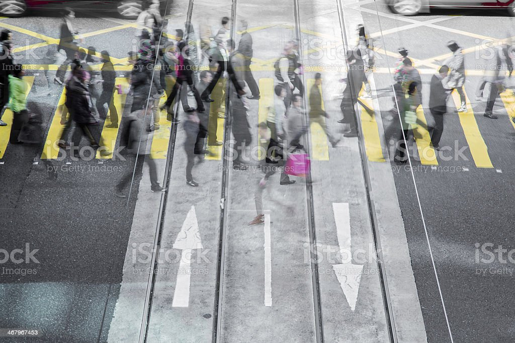 Crowd Crossing in Central stock photo