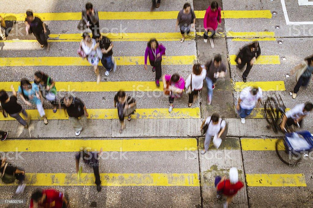 Crowd crossing in Hong Kong royalty-free stock photo