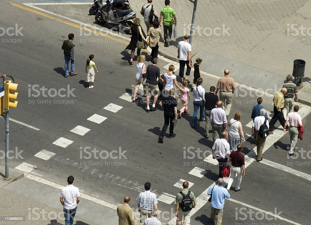 Crowd Crossing the Road royalty-free stock photo