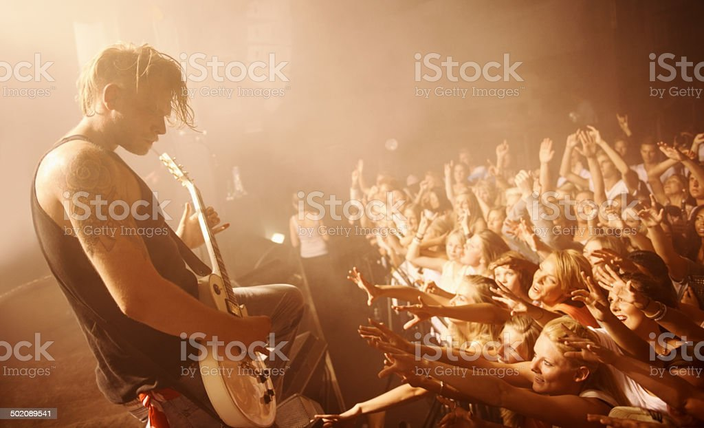 Whipping the crowd into a frenzy stock photo