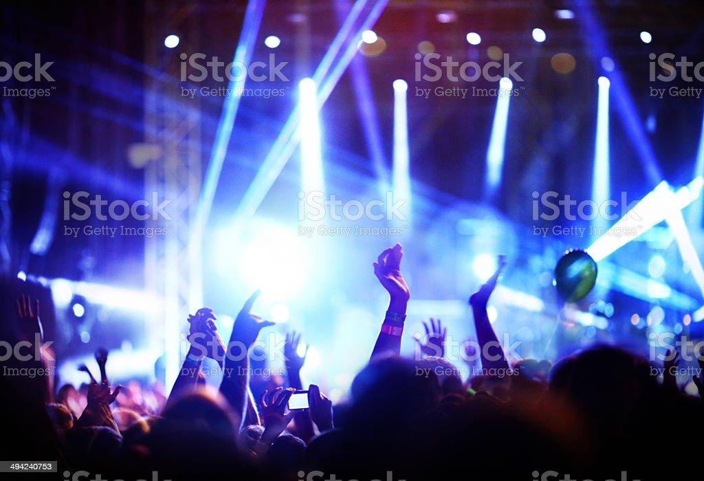 Crowd enjoying a concert. stock photo